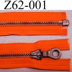 fermeture zip haut de gamme RIRI longueur 62 cm couleur orange lumineux séparable largeur 3.3 cm glissière métal largeur 6 mm