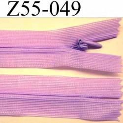fermeture zip à glissière invisible longueur 55 cm couleur parme violine non séparable largeur 2.5 cm glissière nylon