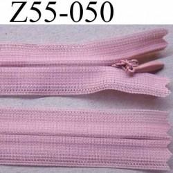 fermeture zip à glissière invisible longueur 55 cm couleur rose non séparable largeur 2.5 cm glissière nylon largeur  4.2 mm