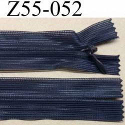 fermeture zip à glissière invisible longueur 55 cm couleur bleu marine non séparable largeur 2.5 cm glissière largeur 4.2 mm