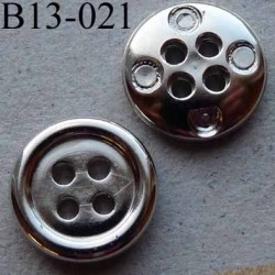 bouton 13 mm pvc couleur argenté 4 trous diamètre 13 millimètres