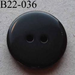 bouton 22 mm couleur noir brillant 2 trous diamètre 22 mm