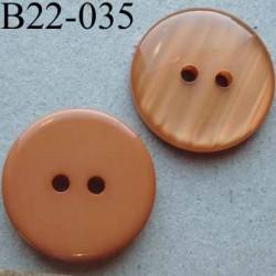bouton 22 mm couleur chaire orangé brillant dos mat  2 trous diamètre 22 mm