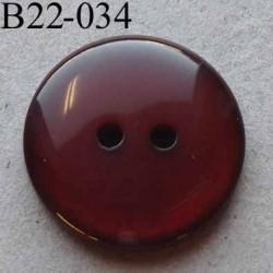 bouton 22 mm couleur marron brillant translucide  2 trous diamètre 22 mm