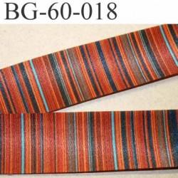biais galon ruban satin grande marque SR haut de gamme couleur rayures multicolor vraiment superbe largeur 60 mm prix au mètre