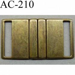 Boucle fermoir etrier rectangle métal couleur laiton vieilli largeur 6 cm hauteur 3.5 cm  largeur de sangle 3 cm max