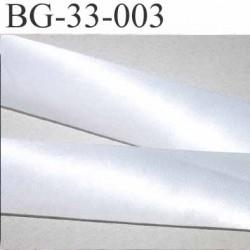 biais galon ruban satin couleur blanc brillant très légèrement argenté largeur 33 mm prix au mètre