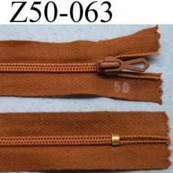 fermeture zip à glissière longueur 50 cm couleur marron non séparable largeur 2.5 cm glissière nylon largeur 4.2 mm