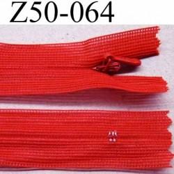 fermeture zip à glissière invisible longueur 50 cm couleur rouge non séparable largeur 2.2 cm glissière nylon largeur 4 mm