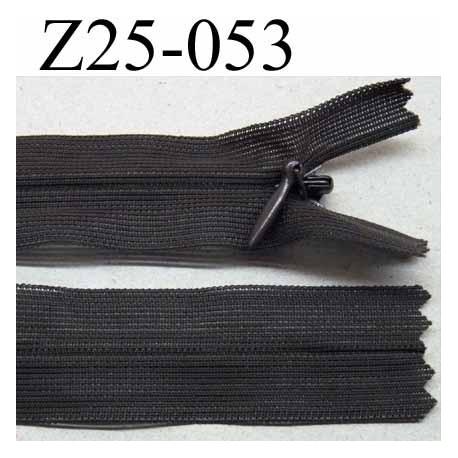 fermeture zip invisible longueur 25 cm couleur marron foncé non séparable largeur 2.3 cm glissière nylon largeur 4.2 mm