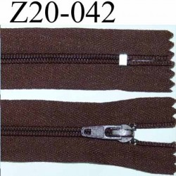 fermeture 20 cm couleur marron zip nylon