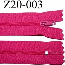 fermeture zip à glissière longueur 20 cm couleur rose fushia non séparable zip nylon largeur 2.5 cm