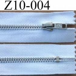 fermeture zip à glissière 10 cm  couleur blanche non séparable zip métal