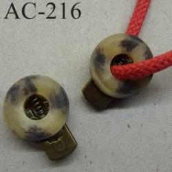 arrêt cordon stop cordon fantaisie PVC rond plat couleur marbré marron ivoire 20 mm vendu à l'unité