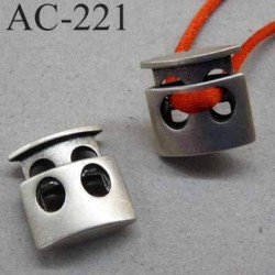 arrêt cordon stop cordon plat double en métal  couleur nickel de taille 18 mm x 18 mm  épaisseur 6 mm vendu à l'unité