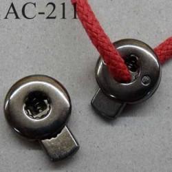 arrêt cordon stop cordon métal rond plat couleur acier  17 mm vendu à l'unité