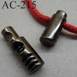 arrêt cordon stop cordon serre cordon rond en métal  à ressort couleur vieux nickel 30 mm diamètre 10 mm  vendu à l'unité