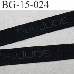 biais galon ruban gros grain couleur noir et texte en gris très solide souple en polyamide largeur 15 mm vendu au mètre