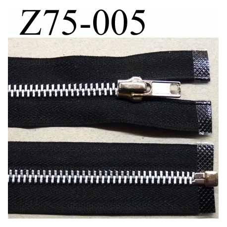 fermeture zip à glissière  longueur 75 cm couleur noir séparable zip métal largeur 3 cm largeur du zip 6.2 mm curseur métal