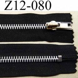 fermeture zip à glissière  longueur 12 cm couleur noir anthracite séparable zip métal largeur 3.2 cm largeur du zip 6.2 mm