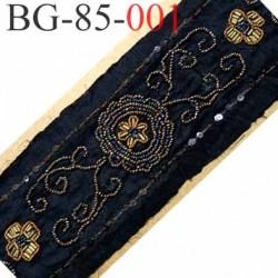 galon ruban couleur noir avec motifs en perles et sequins multicolor vraiment superbe largeur 85 mm prix au mètre