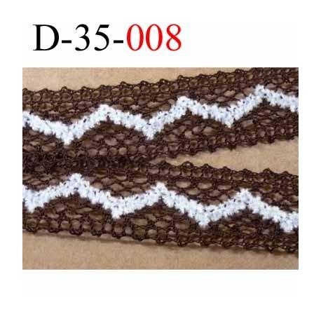 dentelle crochet en coton et décor blanc écru synthétique largeur 35 mm couleur marron et blanc écru prix au mètre