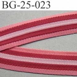 galon ruban en maille extensible sur la largeur couleur fushia  rose et tamaris  largeur 25 mm prix au mètre