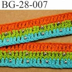 gallon ruban maille largeur 28 mm couleur orange vert bleu turquoise et perles couleur chromé prix au mètre