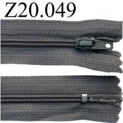 fermeture éclair 20 cm gris non séparable zip nylon