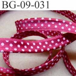 biais galon ruban passepoil largeur 9 mm couleur fushia et points blanc avec cordon 100 % coton diamètre 2 mm le mètre