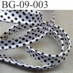 biais galon ruban passepoil satin largeur 9 mm couleur gris argenté et points noir  avec cordon 100 % coton diamètre 2 mm