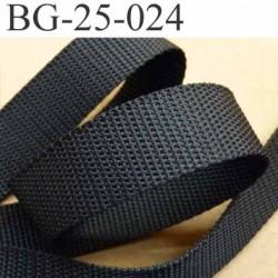 sangle ruban gallon a plat synthétique couleur noir largeur 2.5 cm épaisseur 1.5 mm très très solide  prix au mètre