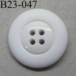 bouton 23 mm  couleur blanc 4 trous diamètre 23 millimètres