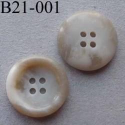 bouton 21 mm  couleur marbré blanc cassé beige 4 trous diamètre 21 millimètres