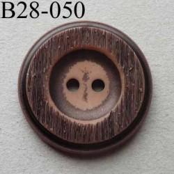 bouton fantaisie 28 mm  pvc couleur marron imitation bois 2 trous diamètre 28 millimètres