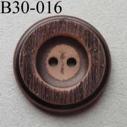 bouton fantaisie 30 mm  pvc couleur marron imitation bois 2 trous diamètre 30 millimètres