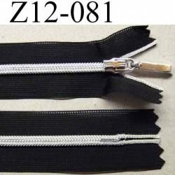 fermeture zip à glissière invisible longueur 12 cm largeur 2.5 cm couleur noir et glissière et curseur argenté non séparable