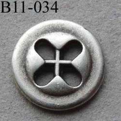 bouton métal diamètre 11 mm 4 trous couleur gris diamètre 11 mm