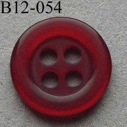 bouton diamètre 12 mm 4 trous couleur bordeaux transparent diamètre 12 mm