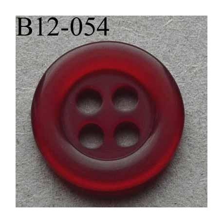 bouton diamètre 12 mm 4 trous couleur bordeaux transparent diamètre 12 mm
