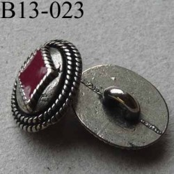 bouton métal diamètre 13 mm accroche un anneau couleur acier et bordeaux diamètre 13 mm