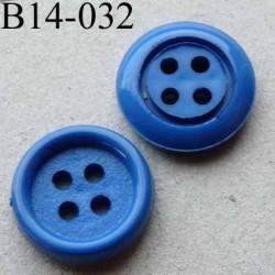 bouton diamètre 14 mm 4 trous couleur bleu diamètre 14 mm