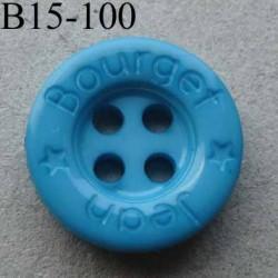 bouton diamètre 15 mm 4 trous couleur turquoise inscription JEAN BOURGET diamètre 15 mm
