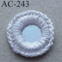 """ornement décor couture sequins effet """"petit miroir"""" pourtour fil de couleur blanc diamètre 17 mm"""
