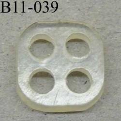 bouton fantaisie carré 11 mm pvc couleur transparent 4 trous diamètre 11 millimètres
