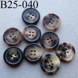 bouton 25 mm haut de gamme couleur marron marbré avec bordure 4 trous 25 millimètres vendu à l'unité