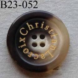 bouton 23 mm haut de gamme siglé CHRISTIAN LACROIX couleur marron marbré 4 trous 23 millimètres