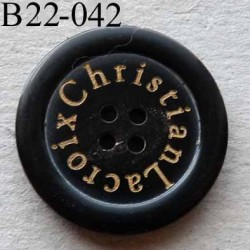 bouton 22 mm haut de gamme siglé CHRISTIAN LACROIX couleur noir 4 trous 22 millimètres