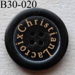 bouton 30 mm haut de gamme siglé CHRISTIAN LACROIX couleur noir 4 trous 30 millimètres