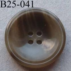 bouton 25 mm haut de gamme couleur beige marbré 4 trous diamètre 25 millimètres